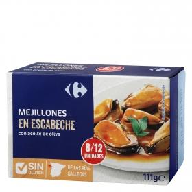 Mejillones de las rías gallegas en escabeche con aceite de oliva Carrefour sin gluten 69 g.
