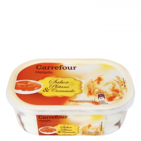 Helado de plátano y caramelo Carrefour 900 ml.