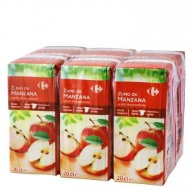 Zumo de manzana Carrefour pack de 6 briks de 20 cl.