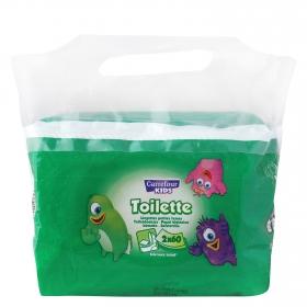 Papel higiénico húmedo wc Carrefour Kids pack de 2 paquetes de  60 ud.