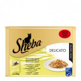 Pack Comida para Gato Sheba Delicato Mixto Pescado y Ave 4 Bolsitas 85 gr