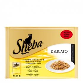Pack Comida para Gato Sheba Delicato Selección de Aves 4 Bolsitas 85 gr