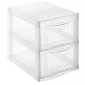 Torre organizador de Plástico 2 cajones A4 Carrefour H. - Transparente