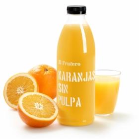 Zumo de naranja El Frutero sin pulpa botella 1 l.