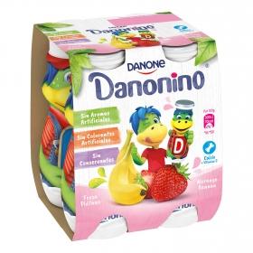 Yogur líquido de fresa y plátano Danone Danonino sin gluten pack de 4 unidades de 100 g.