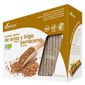 Tostadas ligeras de arroz integral y trigo sarraceno ecológicas