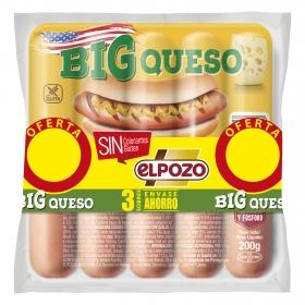 Salchichas BIG queso El Pozo pack de 3 unidades de 180 g.
