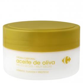 Crema corporal Aceite de Oliva pieles secas Carrefour 200 ml.