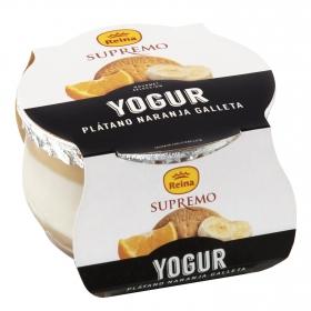 Yogur de plátano, naranja y galleta Reina Superemo 120 g,