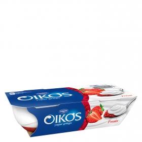 Yogur griego con fresa Danone Oikos pack de 2 unidades de 110 g.