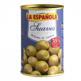 Aceitunas verdes rellenas de anchoa sabor suave La Española 130 g.