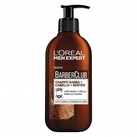 Champú para barba + cabello + rostro BarberClub L'Oréal-Men Expert 200 ml.