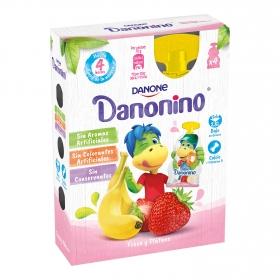 Yogur de fresa y plátano Danone Danonino sin gluten en bolsitas pack de 4 unidades de 70 g.
