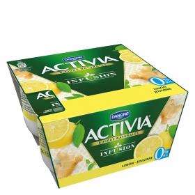 Yogur desnatado activia infusión limón y jenjibre
