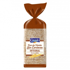 Pan de molde integral sin corteza
