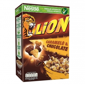 Cereales integrales con caramelo y chocolate Lion Nestlé 675 g.