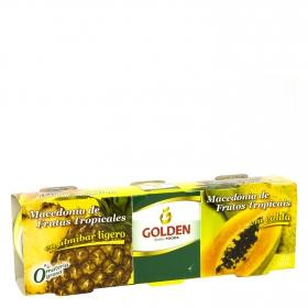 Macedonia de frutras tropicales en almibar ligero Golden pack de 3 unidades de 137 g.
