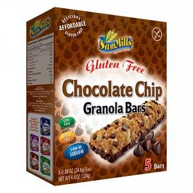 Barritas Chocolate chips SamMills sin gluten 5 unidades de 24,8 g.