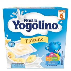 Postre lácteo de plátano Nestlé Iogolino pack de 4 unidades de 100 g.