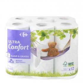 Papel higiénico 3 capas Carrefour 12 rollos.