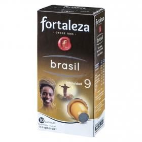 Café molido natural Brasil en cápsulas Fortaleza compatible con Nespresso 10 unidades de 5 g.