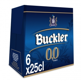 Cerveza Buckler 0,0 sin alcohol malta pack de 6 botellas de 25 cl.