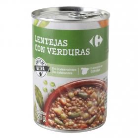 Lentejas con verduras con aceite de oliva