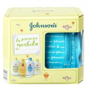 Mochila azul de baño bebé (champú, loción, baño hidratante, colonia)