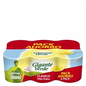 Maíz dulce original Gigante Verde pack de 6 unidades de 140 g.