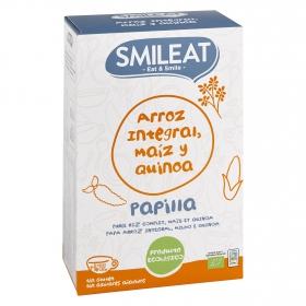 Papilla de arroz integral, maíz y quinoa +4 meses ecológica Smileat 230 g.