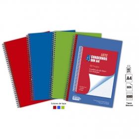 Lote 4 Cuadernos Folio Cuadrícula A4 80H Tapa Blanda