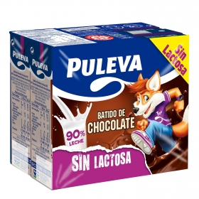 Batido de chocolate Puleva sin lactosa pack de 6 briks de 200 ml.