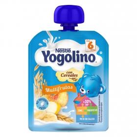 Postre lácteo multifrutas con cereales desde 6 meses Nestlé Yogolino bolsita de 90 g.