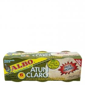 Atún claro en aceite de oliva virgen extra Albo pack de 6 unidades de 54 g.