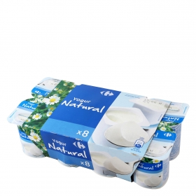 Yogur natural Carrefour pack de 8 unidades de 125 g.