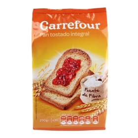 Pan tostado integral Carrefour 270 g.