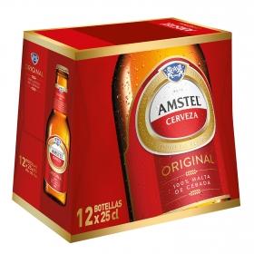 Cerveza Amstel 100% malta pack de 12 botellas de 25 cl.
