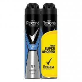 Desodorante Cobalt Blue anti-transpirante Rexona pack de 2 unidades de 200 ml.