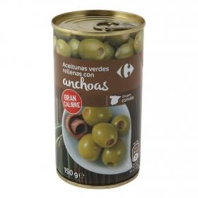 Aceitunas verdes rellenas de anchoa Carrefour 150 g.