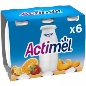 Yogur L.Casei liquido multifrutas Danone Actimel pack de 6 unidades de 100 g.