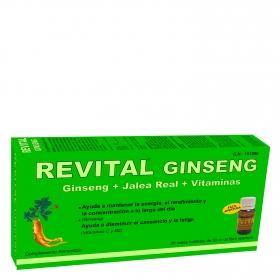 Ginseng + Jalea Real + Vitaminas complemento alimenticio Revital 20 ampollas.