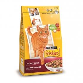 Purina Friskies Pienso para Gato Adulto Buey, Pollo y Verduras 1,5Kg
