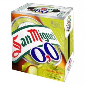 Cerveza San Miguel 0,0 sin alcohol con zumo de manzana pack de 6 botellas de 25 cl.