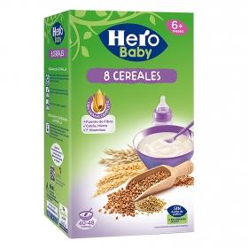 Papilla infantil desde 6 meses de 8 cereales sin azúcar añadido Hero Baby sin aceite de palma 1200 g.