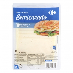 Queso en lonchas semi Carrefour 200 g.
