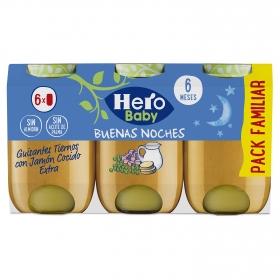 Tarrito de guisantes con jamón cocido desde 6 meses sin sal añadida Hero Baby Buenas noches sin aceite de palma pack de 6 unidades de 200 g.