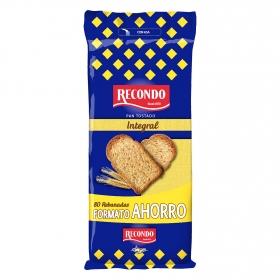 Pan tostado integral bolsa Recondo 720 g.
