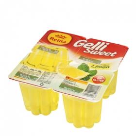 Gelatina sabor limón Reina sin gluten pack de 4 unidades de 100 g.