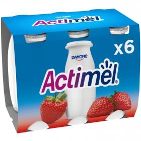 Yogur L.Casei líquido con fresa Danone Actimel pack de 6 unidades de 100 g.