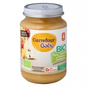 Tarrito de pera, melocotón y plátano ecológico Carrefour Baby 200 g.